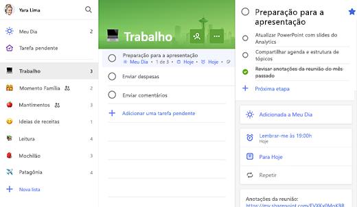 Captura de tela da Lista de trabalho com preparação para a apresentação aberta no modo de exibição de detalhes
