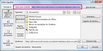 Caixa de diálogo Editar hiperlink