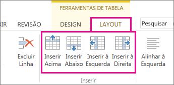 Imagem das opções de layout para adicionar linhas e colunas em tabelas