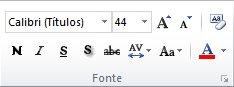 o grupo fonte na guia página inicial da faixa de opções do powerpoint 2010.