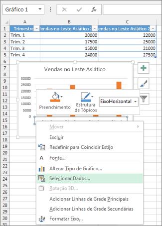 Clique com o botão direito do mouse no eixo da categoria e em Selecionar Dados