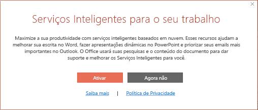 Caixa de diálogo Aceitar para Serviços Inteligentes do Office
