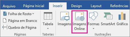 O ícone Imagens Online é realçado na guia Inserir