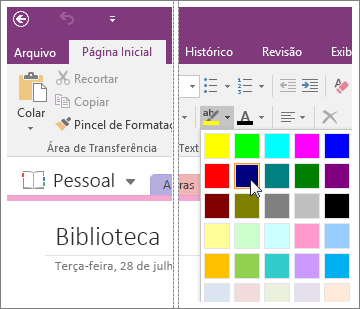 Captura de tela do botão Cor do Realce do Texto no OneNote 2016.
