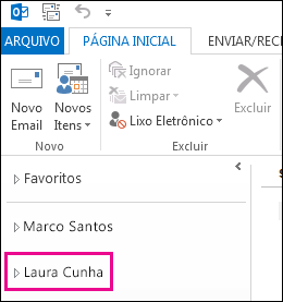 A pasta compartilhada é exibida na lista de pastas do Outlook 2013