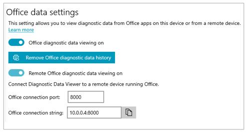 """Captura de tela da seção """"Configurações de dados do Office"""" das Configurações do Visualizador de Dados de Diagnóstico"""