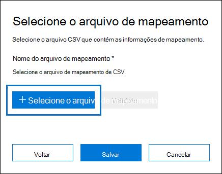 Clique em arquivo de mapeamento Select para enviar o arquivo CSV que você criou para o trabalho de importação