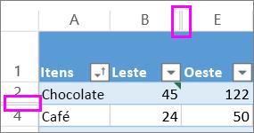 linhas duplas entre linhas e colunas indicam linhas ou colunas ocultas
