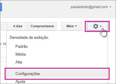 Google Agenda - Configurações - Configurações