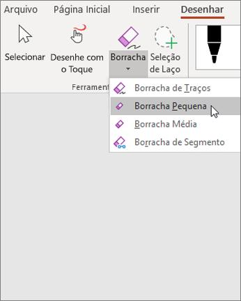 Guia Desenhar com as opções de borracha e a borracha pequena selecionada