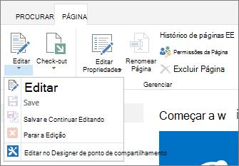Botões de desabilitado mostrando de faixa de opções de página