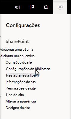 Vá para configurações, configurações da biblioteca