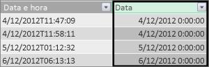 Coluna de data na tabela de fatos