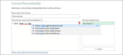 Caixa de diálogo Coluna personalizada com uma seleção de algoritmos de associação exibida