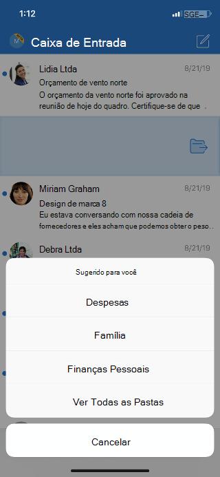Mostra uma caixa de entrada com uma lista de opções de pasta e uma opção para ver todas as pastas.
