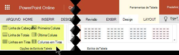Você pode adicionar estilos de sombreamento a determinadas linhas ou colunas em uma tabela.
