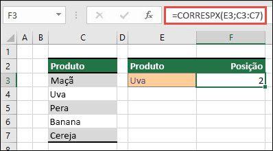 Exemplo de como usar o CORRESPX para localizar a posição de um item em uma lista