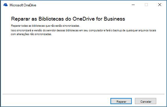 Caixa de diálogo de reparo da Sincronização do ODB
