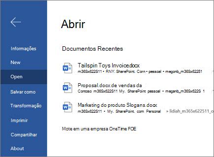 Abrir um document_Word para a Web