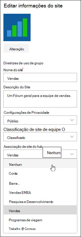 Desassociar um site de um site de Hub do SharePoint