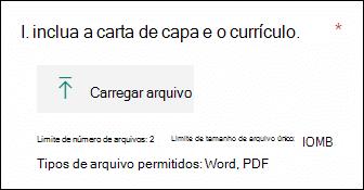 Pergunta no Microsoft Forms que permite que os arquivos sejam carregados