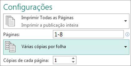 Configurando a impressão de mais de uma cópia da publicação em cada folha.