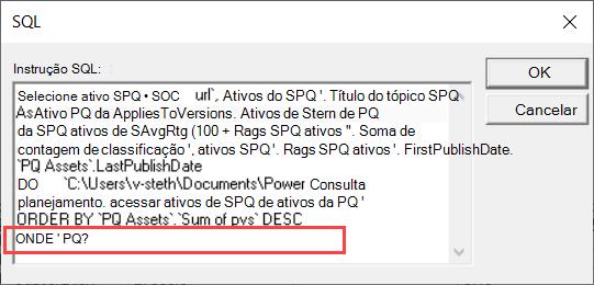 Modo SQL de consulta MS enfatizando a cláusula WHERE