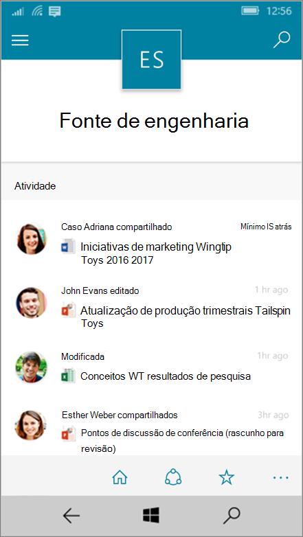 Windows 10 Mobile mostrando a atividade, arquivos, listas e navegação