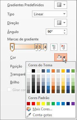 Alterar a cor de cada marca de gradiente