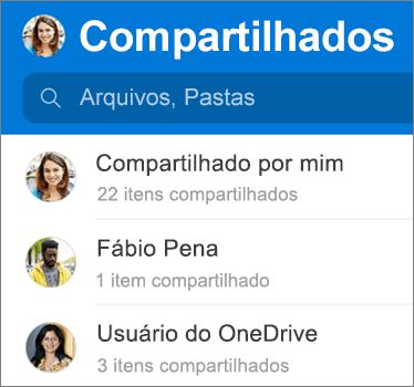Exibição de arquivos compartilhados no aplicativo OneDrive para Android