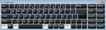 teclado de tela com caracteres russos cirílicos