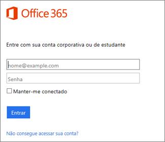 página de entrada de portal.office.com