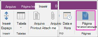 Captura de tela do botão Modelos de Página no OneNote 2016.