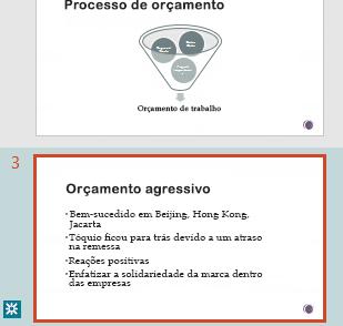 Realce de revisão no painel de miniatura do PowerPoint