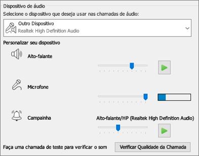Configurações personalizadas -- alto-falante, microfone, campainha -- para dispositivo de áudio