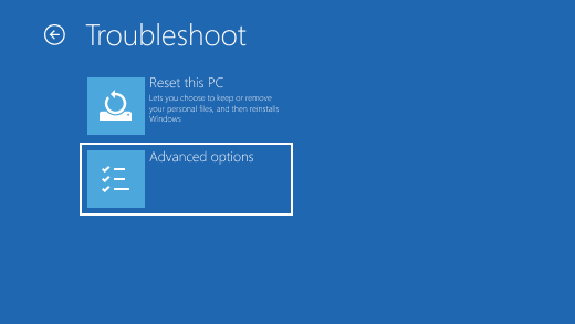 Tela Solucionar Problemas no Ambiente de Recuperação do Windows.