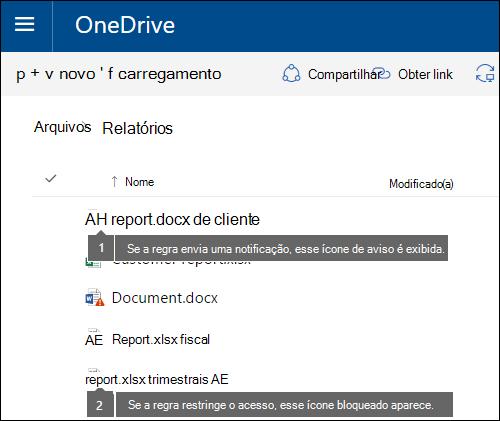 Ícones de dica de política em documentos em uma conta do OneDrive