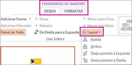 As opções de layout de um organograma do SmartArt