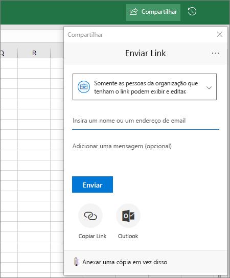 Caixa de diálogo e ícone Compartilhar no Excel