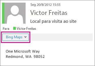 Mensagem do Outlook mostrando o aplicativo Bing Maps