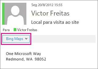 Mensagem do Outlook mostrando o aplicativo Bing Maps