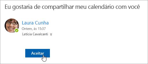 Captura de tela do botão Aceitar na notificação de email de um calendário compartilhado.