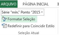 A opção Formatar Seleção está na guia Formatar.
