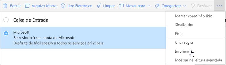 A captura de tela mostra a opção Imprimir selecionada para uma mensagem de email.