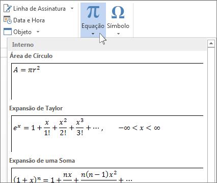 Inserir equação