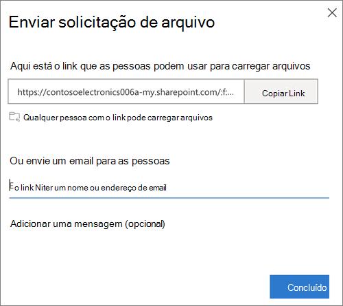 A caixa de diálogo Enviar solicitação de arquivo fornecendo uma opção de link ou endereço de email no OneDrive for Business