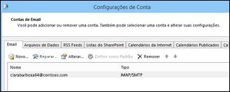 Adicionar uma nova conta em Configurações de Conta