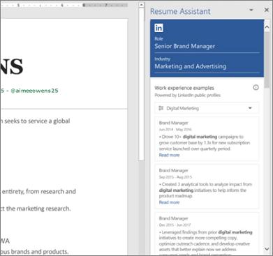 Retomar Assistente painel aberto enquanto estiver trabalhando em um currículo