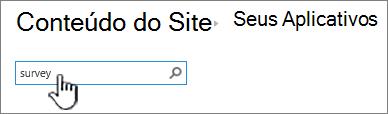 Caixa de pesquisa na página de conteúdo do site com pesquisa digitada e realçada