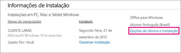 Mostra o link de opções de instalação e idioma no gerenciamento de contas do Office 365